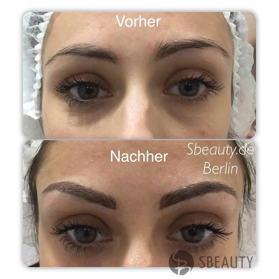 Microblading Augenbrauen vorher / nachner